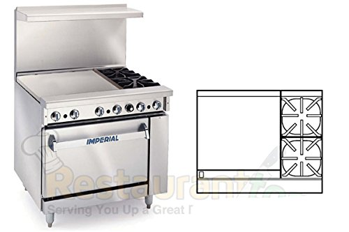 "Imperial Commercial Restaurant Range 36"" W/ 2 Burners 24"" Griddle Standard Oven Nat Gas Ir-2-G24"