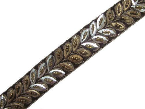 4.5 YD BEADED RIBBON TRIM BROWN GOLD SEQUIN STONE SEWING CRAFT BORDER LACE