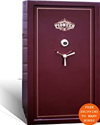 Pioneer WF35 Burgundy 1 Hour Fire Rated Gun Safe 33 Gun Wide Body 70 Inches Tall