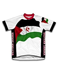 Western Sahara Flag Short Sleeve Cycling Jersey for Women