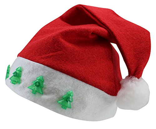 Christmas Elf Santa Cap Hat With Blinking Lights and Music