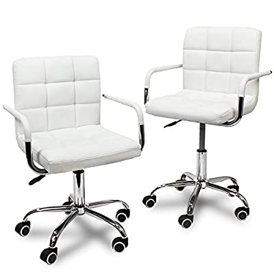 XtremepowerUS Set of 2 Modern Office Executive PU Leather Swivel Armrest Home Office Desk Chair (Cream)