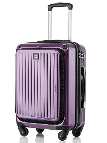 [トラベルハウス]Travelhouseスーツケース TSAロック ファスナー 前面ポケット付き (M, パープル)