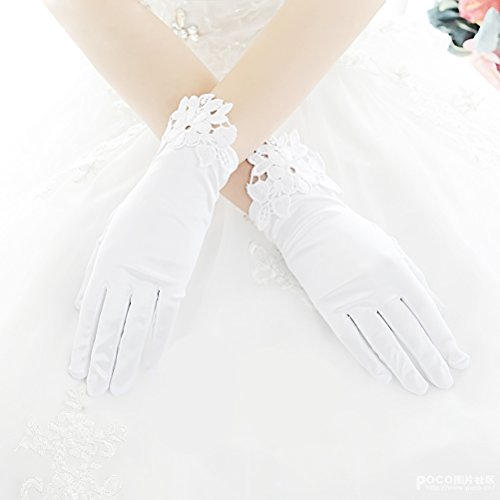 Linabridal Women's Vintage Lace Wrist Short Length Bridal Wedding Gloves FYT01WT-White