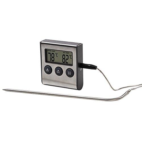 2 in 1 Digitales Bratenthermometer mit Küchenuhr, abnehmbarer Temperaturfühler, Grillthermometer Ofenthermometer Fleischthermometer