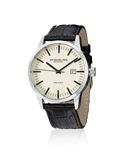 Stuhrling Original Men's 555A.03 Classic Ascot II  Swiss Quartz Date Beige Dial Strap Set Watch