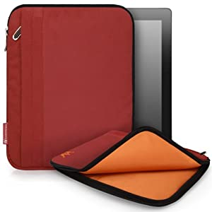 CaseCrown Faux Suede Zip Sleeve Case (Red) for iPad 4th Generation with Retina Display, iPad 3 & iPad 2