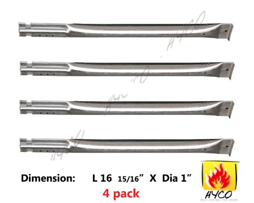 15641 (4-Pack) Straight Stainless Steel Pipe Burner For Char Broil, Charmglow, Costco Kirkland, Grand Isle, Jenn Air, Kenmore Sears, K Mart, Member'S Mark, Nexgrill, Perfect Flame By Lowes