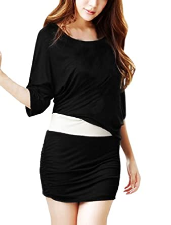 Ladies Scoop Neck Ruched Side Two Tone Chic Mini Dress