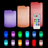 """Noza Tec Weatherproof Outdoor and Indoor 12 Colour Changing flameless Candles with Remote Control & Timer,Set of Three 4""""/5""""/6"""" Candles"""