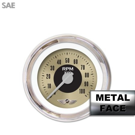 Aurora Instruments GAR2108ZMAIACAH Muscle Series White Tachometer Gauge with Emblem
