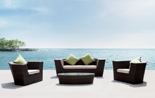 4pc Blakewood Wicker Resin Outdoor Patio Sofa Chair Seating Set w/ Sunbrella Cushions By Azzurro Living