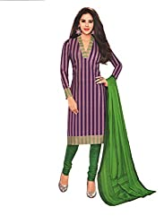 M.S. Boutique - Unstitched Cotton Dress Material - Purple - (MS-SBT-203)