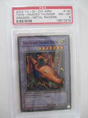 Twin-Headed Thunder Dragon Rare Holo MRD-130 PSA 8 Yugioh Metal Raiders Trading Card (Seven Headed Dragon compare prices)