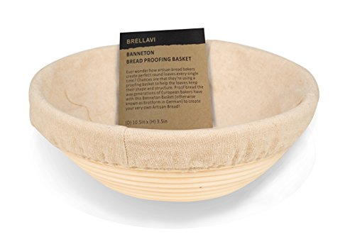 BRELLAVI 10.5 Inch Banneton Proofing Basket + FREE Cloth Liner & Dough Scraper with Instructions & Recipe - 100% Natural Rattan - Handcrafted Brotform Perfect for Artisan Bread Loaf & Dough Rising (Dough Proofing Containers compare prices)