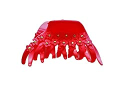 Skhoza matte glass stone hair claw for women and girls (red)