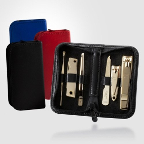 Three Seven 777 Travel Manicure Pedicure Grooming Kit Set (Total 6 Pc, Model: Ts-460Eg (Black/Blue/Red)) : Personal Nail Care, Stainless Steel- Made In Korea (Red)