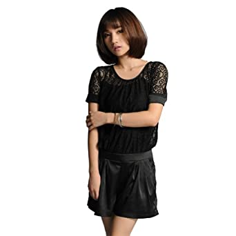 1veMoon Women's Sexy Lace See Through Hot Pants Jumpsuits,Black,Regular Sizing 2