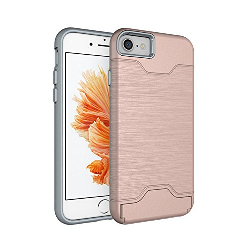 iPhone 7 Plus Case [Multi-function] Shellvcase Shockproof Slim Fit Dual Layer Protection Card Slot Holder Hybrid Cover with Kickstand for Apple iPhone 7 -5.5 inches (Rose Gold) (Dual Protection compare prices)