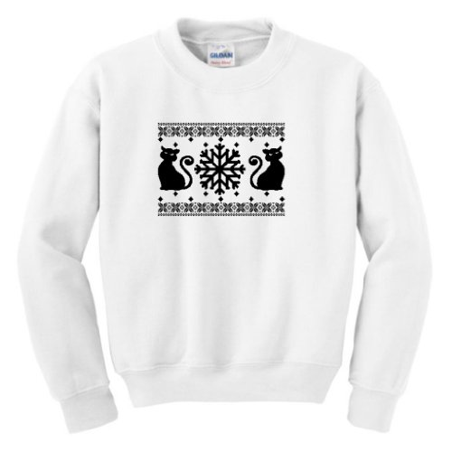 Kitty Cat Faux Ugly Christmas Sweater Youth Crewneck Sweatshirt Xl White