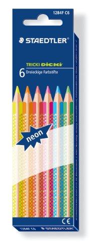 Imagen principal de Staedtler 1284F C6 - Tricki Dicki 6 lápices de colores neón triángulo [Importado de Alemania]