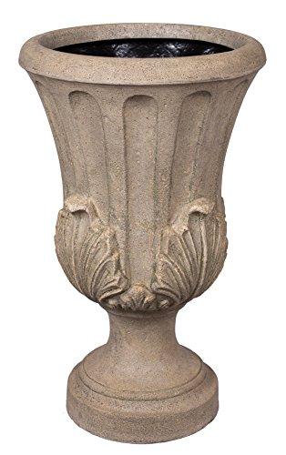BirdRock Garden Roman Acanthus Urn - Aged Granite | Indoor Outdoor Planter Urn (Resin Garden Urns compare prices)