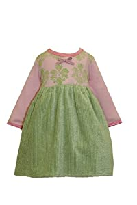 Baby Lulu T- Dresses Baby Girls Green Chenille T-dress