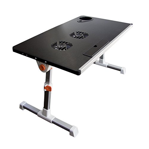 Portable Height Adjustable Folding Aluminium Laptop Stand Desk Table, Vented w/ CPU Fans, Light Weight