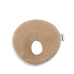 Mittagong Infant Headrest Prevent Flat Round Memory Foam Baby Pillow,Coffee