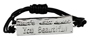 """That's What Makes You Beautiful"" One Direction Lyrics Silver-Plated ID Bracelet with Black Cord, 1D Bracelet, 1D Wristband, 1D Wrist Band by Hinky Imports"