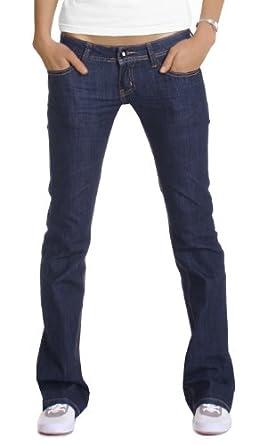 Jeans femme taille basse bootcut bleu foncé femme jeans évasé T. 40/L neuf
