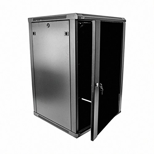 Navepoint 18U Deluxe IT Wallmount Cabinet Enclosure 19-Inch Server Network Rack With Locking Glass Door 24-Inches Deep Black (Rack Cabinet compare prices)