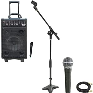 Pyle Speaker, Mic, Cable and Stand Package - PWMA1050 800 Watt VHF Wireless Battery Powered Pa System W/Echo/Ipod/MP3 Input Jack - PDMIC58 Professional Moving Coil Dynamic Handheld Microphone - PMKS7 Compact Base Microphone Stand - PPMCL50 50ft. Symmetric Microphone Cable XLR Female to XLR Male