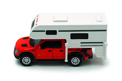 Red 6-inch 2013 Ford F-150 SVT Raptor SuperCrew Camper 1/46 Scale with Pullback Action
