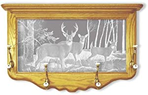 Oak Wall Coat Rack With Deer Hunting Etched Mirror - Deer Hunting Decor - Unique Deer Hunting Gift Ideas - Fully Assembled - 30'' w x 18'' h