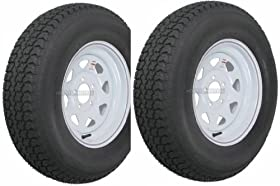 "2-Pack Trailer Wheel & Tire #425 ST175/80D13 175/80 D 13"" LRC 5 Hole White Spoke"