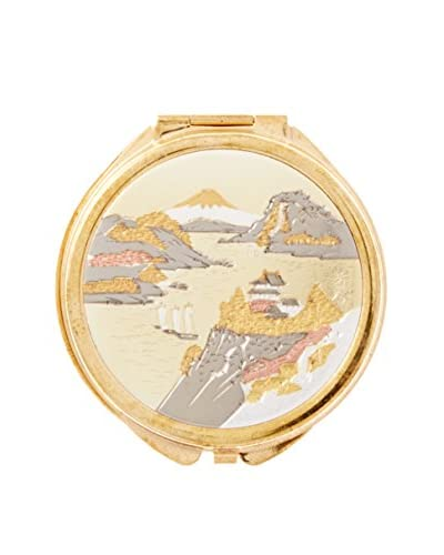 Dynasty Gallery Chokin Art Mountain Scene Pill Box, Gold