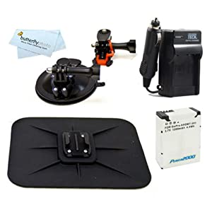 All in 1 Car Mount Kit For For GoPro HD HERO3, GoPro HERO3+ and GoPro AHDBT-201, AHDBT-301 Action Camera Includes Curved Suction Windshield Mount + Dashboard Mount + Extended (1200Mah) Replacement For GoPro AHDBT-301, AHDBT-201 Battery + Ac/Dc Charger