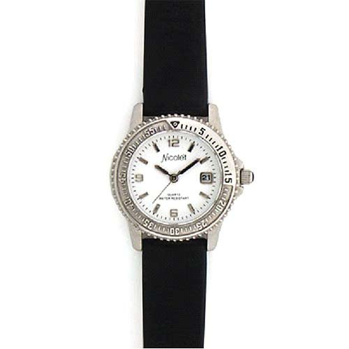 Nicolet Nicolet Women's Silver-tone Watch With Black Leather Strap. Model Nc-7001w