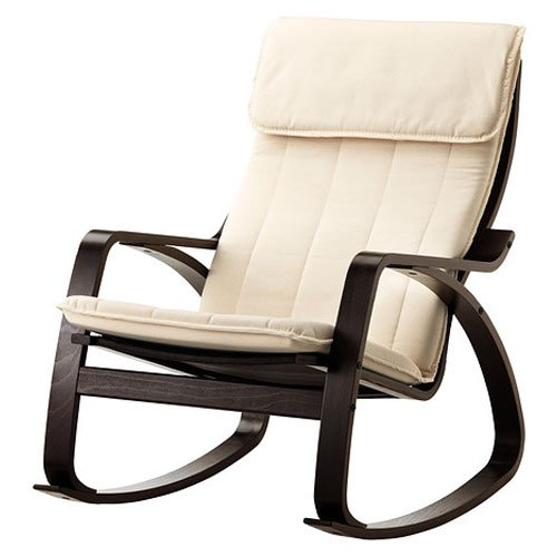 Relax Rocking Chair Black Wood Frame With Natural Color Cushion