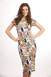 Ladies Stretch-Fit Bodycon Cartoon Snoopy Dog Print Midi Tunic Dress