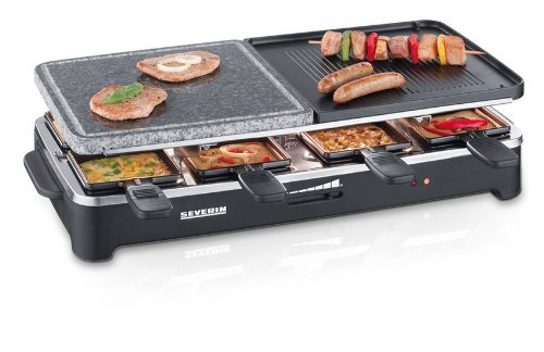 Severin Raclette Party Grill with Natural Grill, Stone Black