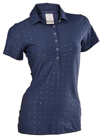 Nike Ladies Embossed Polka Dot Golf Polo Shirt-Gray-Blue by Nike