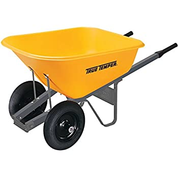 True Temper 6 Cubic Foot Wheelbarrow with Poly Tray and Dual Wheels - RP6DW8