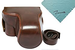 Zenness Protective Camera Leather Case Bag Cover for Panasonic Lumix DMC-GX7 GX7 14-42mm Lens Camera (Coffee)