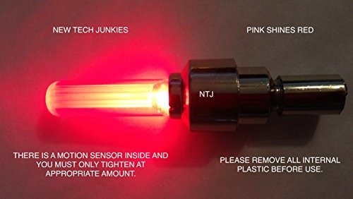 NTJ (4 Pack) LED Motion Activated Bike Bicycle Wheel Valve Stem Cap Tire Light (Red) (Valve Stem Caps Designs compare prices)