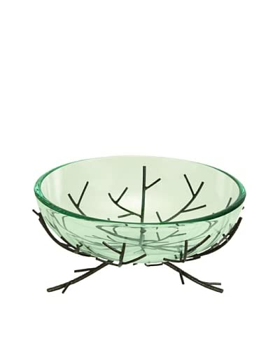 Glass Bowl with Metal Branch Stand