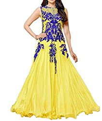 Arati Creation Women's Georgette Unstitched Dress Material (XYZ10_Yellow_Free Size)