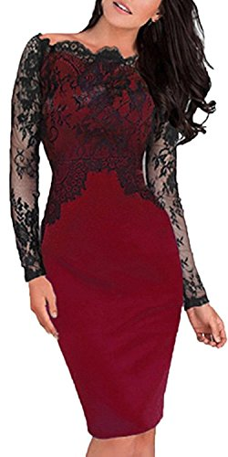 Max Coburg Women's Bodycon Lace Cocktail Party Evening Formal Gown Dress (XL, Red)