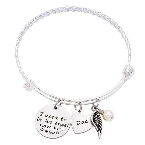 Memorial Necklace I Used To Be His Angel Now He's Mine Necklace Daddy , In Memory Of Loved One Dad (Angel-Bracelet) (Athena Picture compare prices)
